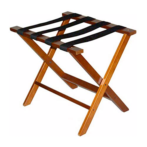 CSL TLR-100D-1 American Hardwood Luggage Rack w/Black Straps, Dark Oak