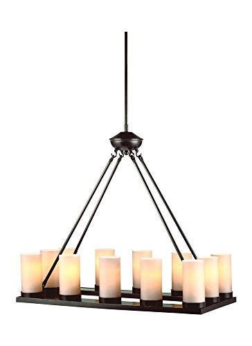 Sea Gull Lighting 31588En3 710 Ellington   Twelve Light Chandelier  Burnt Sienna Finish With Cafe Tint Case White Glass