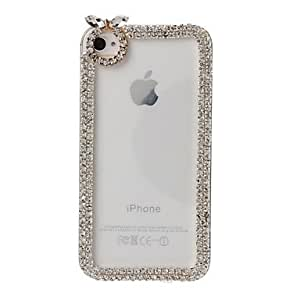 Mini - DIY 3D Chain Frame with Rhinestone Pattern Plastic Hard Case for iPhone 4/4S