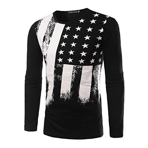 Mens American Flag Printed Long Sleeve Short Sleeve T-Shirts Pullover Hoodies Tops L Black