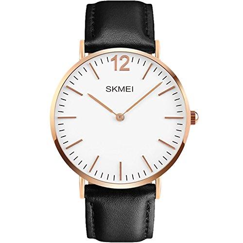 Men's Quartz Watch, Aposon Fashion Classic Business Analog Wrist Watch Casual Dress Leather Watches - Black