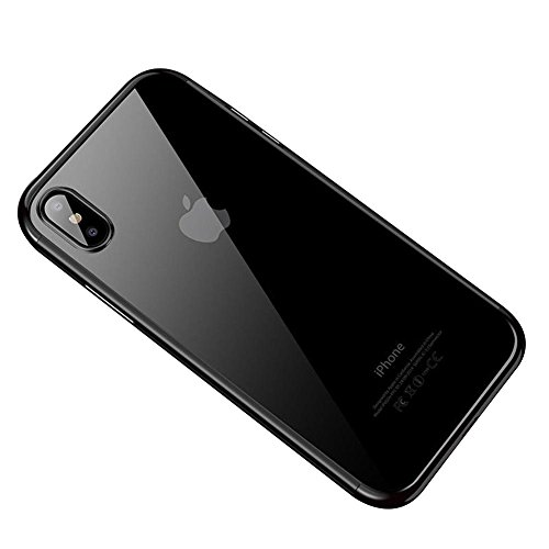 HONTECH Compatible iPhone Xs Max 2018 Case, Ultra-Thin Clear Soft TPU Plating Shockproof Protective Cover 6.5 inch, Black
