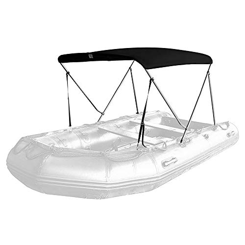 Seamander Inflatable Boat Bimini Tops,Rib Boat Cover with Mounting Hardware (Black, 2 Bow 150 x 115 x 100cm for Rib)