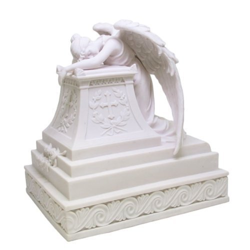 Mourning Angel Urn Resin Statue, Marble Finish
