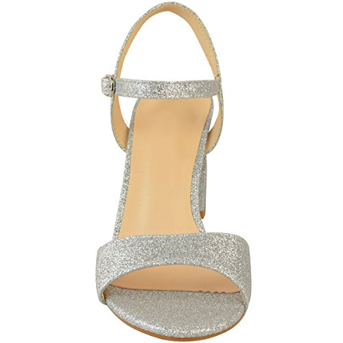 Fashion Thirsty Womens Mid Block Heel Party Bridal Glitter Sandals Wedding Prom Shoes Size Silver Glitter BMAGi