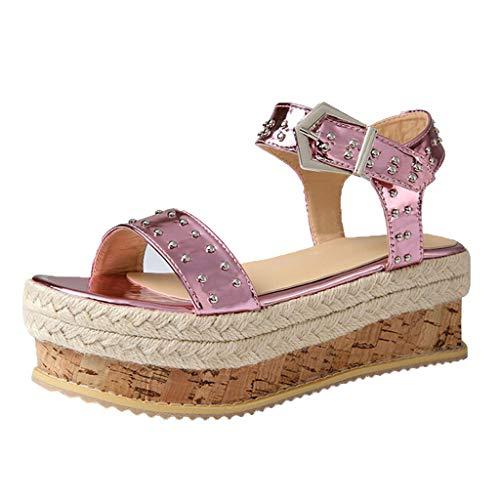 Sandalias De Verano Tacon Plataforma Rosa Pescado Zapatos Mujeres Gladiador Boca  Cuña Planas Mares Alpargatas Mujer Zarlle ... b640038c47ee