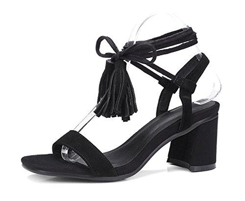 Con 34 Tacón Estudiante Black 6cm Sandalias 34 Cruzadas Mujer Black Xie De correas Flecos trabajo Medio Tienda 38 34 XxBq4pCwn