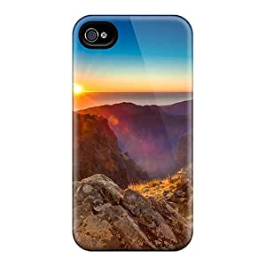 Hard Plastic Iphone 4/4s Case Back Cover,hot Sunrise On Mountain Walkway Case At Perfect Diy