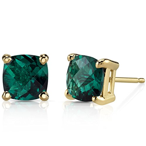 14K Yellow Gold Cushion Cut 1.75 Carats Created Emerald Stud Earrings ()