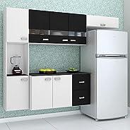 Cozinha Compacta Suspensa 4 Peças Julia - Poquema - Branco/preto
