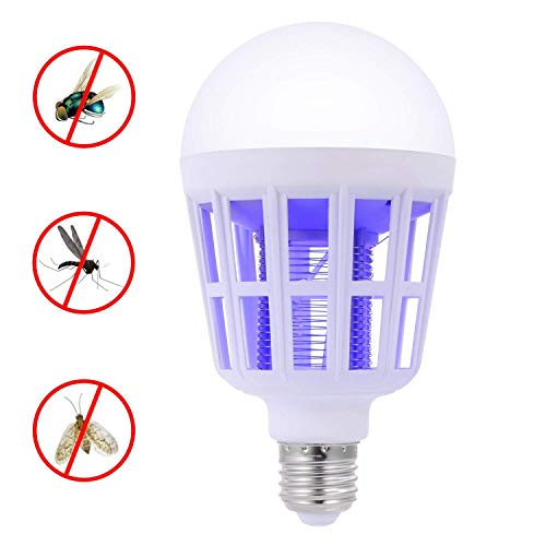 Bug Zappers Light Bulb, 2 in 1 Mosquito Killer Lamp, Electronic Insect Killer Fly Killer, Built in Insect Trap, Fits 110V E26/E27 Light Bulb Socket, Suit for Indoor Outdoor Porch Patio Backyard