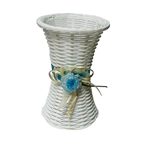 (TFTEAM Flower Basket Plastic Thin Waisted Flower Basket Vase for Party Wedding Living Room Table Home Garden Decoration size as picture shown)