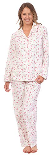 - Pink Lady Womens 100% Cotton Long Sleeve Print 2 Piece Flannel Pajama Set (Pink Rose Print, XL)