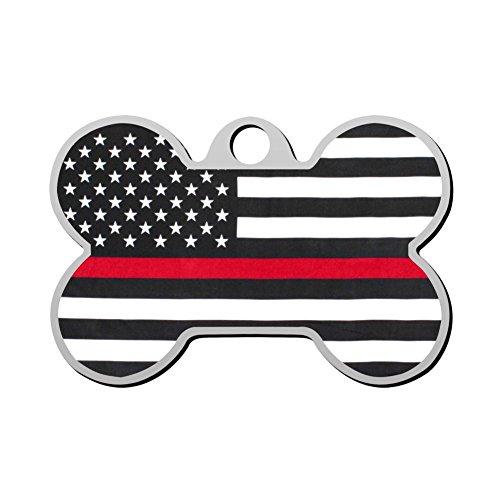 GcTck USA Red Pet ID Dog Tag Engraved Bone Personalized Pet Identity Chain Custom Cat Clip with Name Ownner Number Print Front and Back