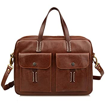 Image of Luggage Ainifeel Women's Genuine Leather Briefcase Purses 15'' Laptop Bags Business Handbags (Chocolate)