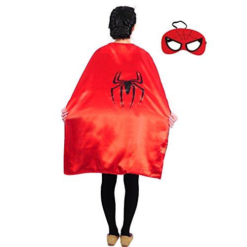 Adult Teen (43 in) Superhero Capes w/Mask (Spiderman) (Spiderman Costume Teen)