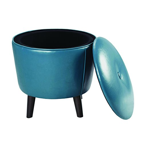 Madison Park Crosby Storage Ottoman – Solid Wood, Leatherette Cover Toy Chest Footstool Modern Style Accent Stool, Corner Seating, Lift Top Organizer Vanity Chair, Bedroom Furniture, Blue