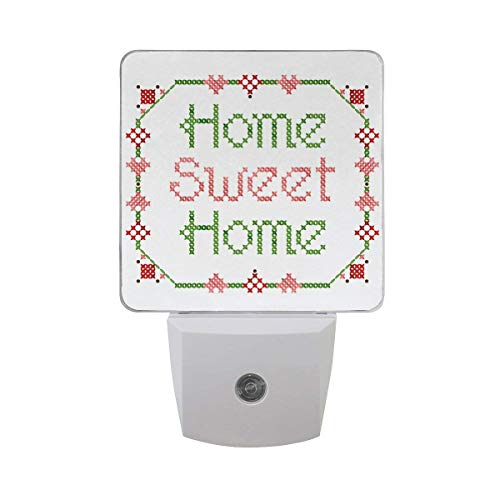 xiaodengyeluwd 2 Pack Home Sweet Home Word with Lace Embroidery Element Design Auto Sensor LED Dusk to Dawn Night Light Plug in Indoor for Adults (Embroidery Design Words)