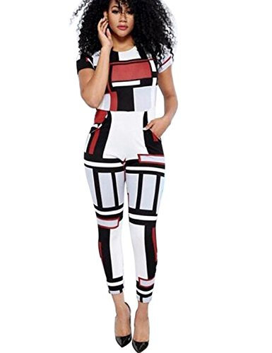Womens Sexy Short Sleeve Geometric Long Pants Jumpsuits and Rompers 2XL White