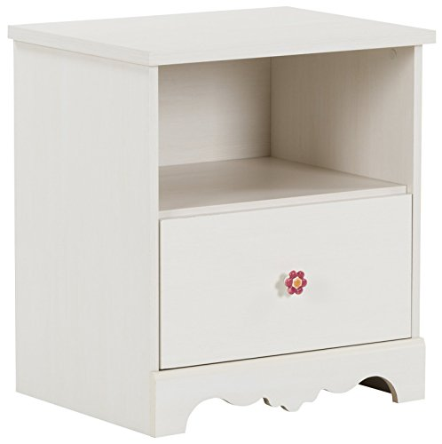 South Shore Lily Rose 1-Drawer Nightstand, White Wash with Ceramic Flower -