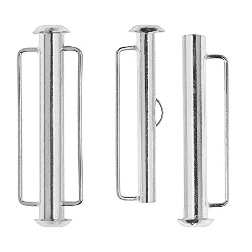 Silver Slide Jewelry Set (Slide Tube Clasps, with Bar Loops 31.5x10.5mm, 2 Sets, Silver Plated)