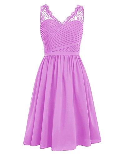 BessDress Lilac Prom Bridesmaid Neck Short Homecoming V BD141 Dress Dress Ruched Chiffon rfrUqPOW