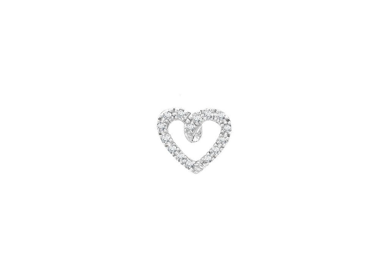 Genuine 9ct White Gold Heart Slider Pendant PFQ3Pc