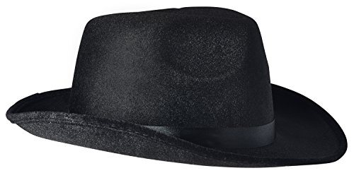 NJ Novelty Fedora Gangster Hat, Black Pinched Hat Costume Accessory + White Band (Black - 1 Pack)