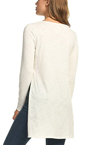 Camiseta De Manga Larga De Las Mujeres Camisa Tops High Low Split White