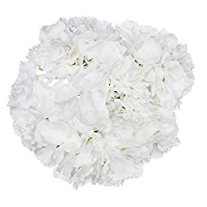 Royal Imports Hydrangea Flowers Artificial Fake Silk Bunch of 6 Heads for Bouquets, Weddings, Valentines, Wreaths, Crafts, White 7