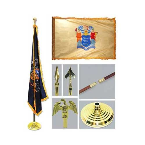 New Jersey 3ft x 5ft Flag Flagpole Base and Tassel