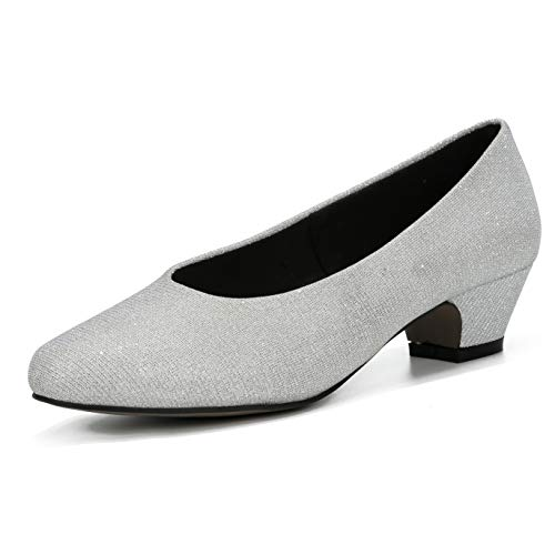 - LIURUIJIA Women's Closed Toe Low Chunky Heel Pumps | Dress, Work, Party Shoes Silver sequins-40(250/US8)