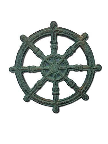 Cast Iron Verdigris Antique Looking Ship Wheel Helm Trivet or Wall Plaque