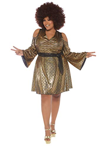 Leg Avenue Womens Plus 70s Disco Costume, Gold, 3X-4X -
