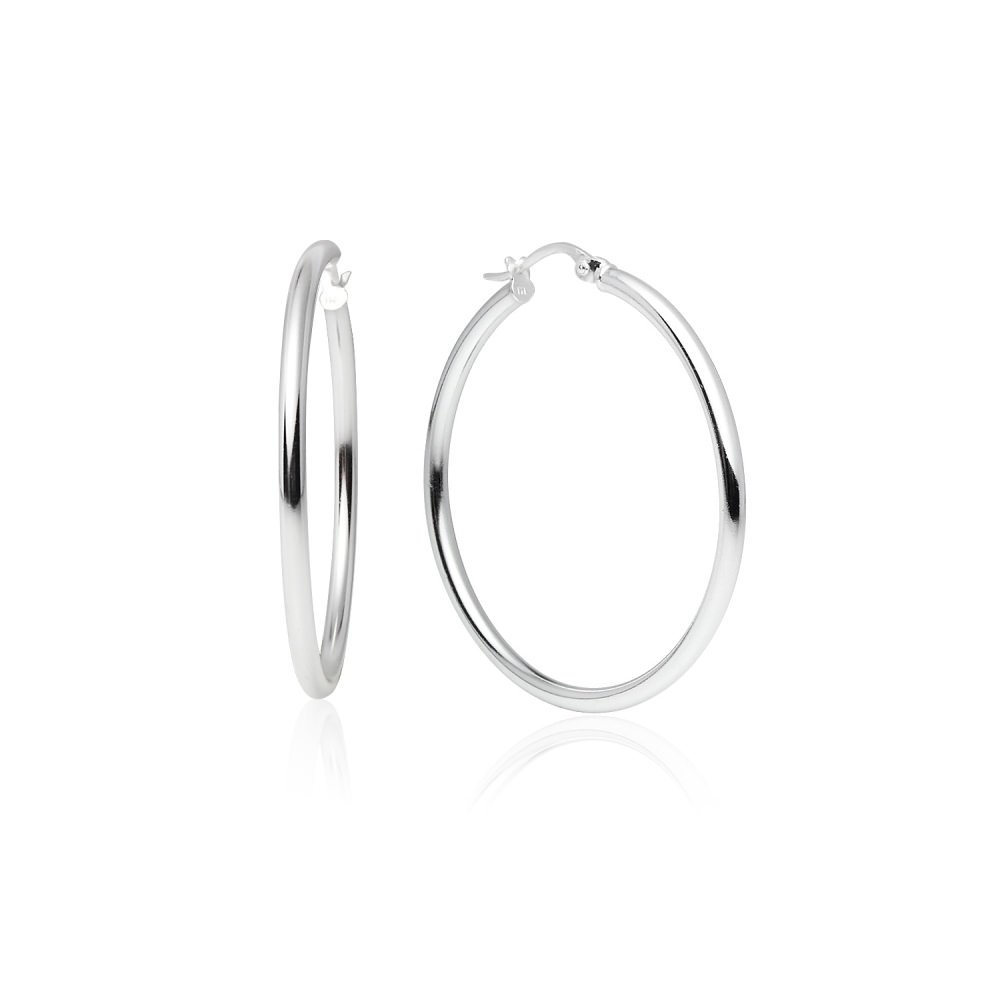 LOVVE Sterling Silver High Polished Round-Tube Click-Top Hoop Earrings, 2x35mm