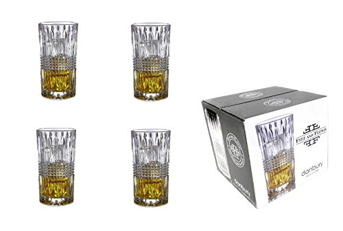 Fitz and Floyd Set of 4 Danbury Crystal Highball Glasses 8.8 Ounce