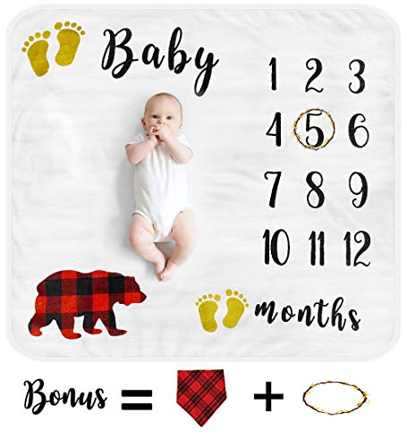 Baby Monthly Milestone Blanket for Boy Girl, Organic Thick Fleece Personalized Photography Background Blankets, Large for Mom Newborn Baby Shower Gifts + Bib + Frame (Bear)