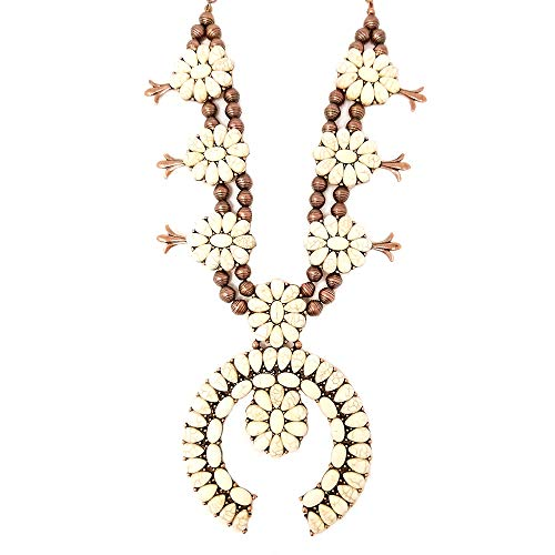 Squash Blossom Turquoise Statement Necklace and Earrings Set Western Naja Pendant (White) ()