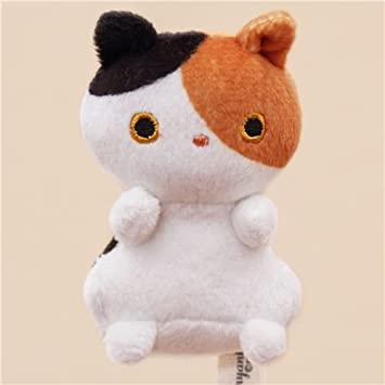 Lindo muñeco de peluche pequeño animal gato blanco negro marrón