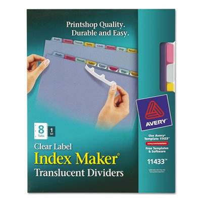 (Avery Index Maker Translucent Dividers with Color Labels, 8-Tab, Letter Size (8.5 x 11), Multicolor, 8 per Set (11433) )