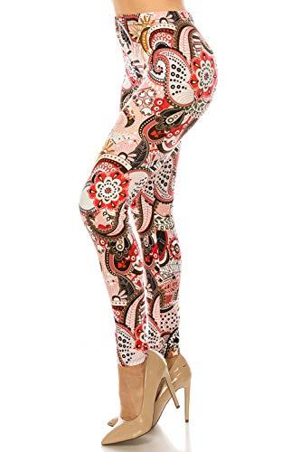 ShyCloset Premium Fashion Printed Leggings - Unique Pattern Brushed Buttery Soft Pants Regular/Plus Size (Plus Size (12-24), Paisley Red) (Pattern Red Paisley)