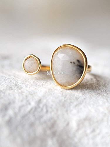 (Double Stone Labradorite Open Circle Gemstone Ring)