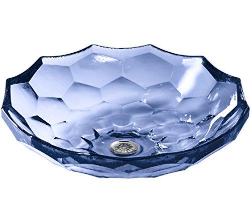 (Kohler K-2373-TG6 Glass Above counter Round Bathroom Sink, 17.5 x 17.5 x 4.75 inches, Translucent Sapphire Glass)