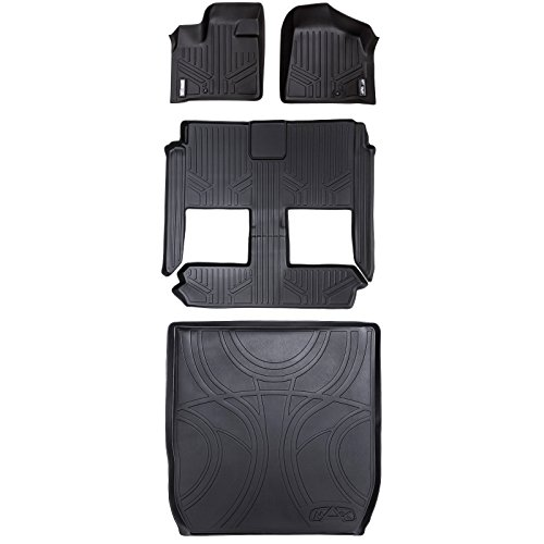 MAXLINER Custom Fit MAXFLOORMAT and MAXTRAY Cargo Liner for Select Dodge Caravan/Chrysler Town & Country Models - (Black) (3 Row Set Behind 2nd Row) ()