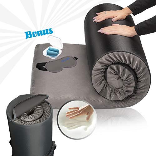 Zermätte Memory Foam Roll Up Mattress Floor Bed - Camping Mattress/Travel Bed/Portable Guest Sleeping Mat/Cot Pad-with Waterproof Cover, Travel Bag, Gel Eye Mask & Ear Plugs. (Twin: 75