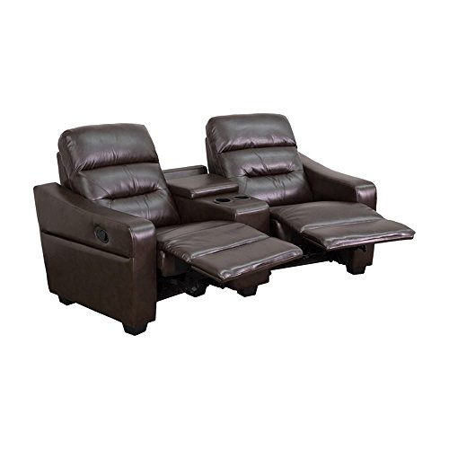 Offex Futura Series 2-seat Reclining Leather Theater Seating Unit with Cup Holders Brown
