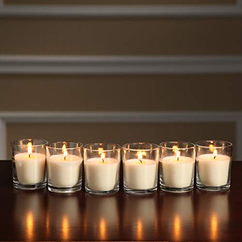 Hosley Set of 48 Unscented Clear Glass Wax Filled Votive Candles 12 Hour Burn Time. Glass Votive and Hand Poured Candle Included Ideal Gift or Use for Aromatherapy Weddings Party Favors O1