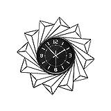 JYY Elegante Reloj De Pared con Marco De Metal,Reloj Silencioso De Calidad For Cualquier Habitación,Regalo De Decoración Cocina Sala De Estar,con Pilas (Color : Black02, Size : Diameter 55cm)