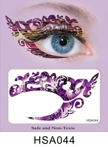 Halloween Facial Makeup (Party Eyes Temporary Lace Tattoo Lace False Eyelashes Halloween MakeUp Stickers - HSA044 Sticker Tattoo - FashionDancing)