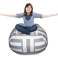 EXTRA LARGE Stuffed Animal Storage Bean Bag Cover   Premium Kids Plush Toy Storage Solution & Organizer   Available in 6 Patterns   Free E-Book (Grey Stripe)